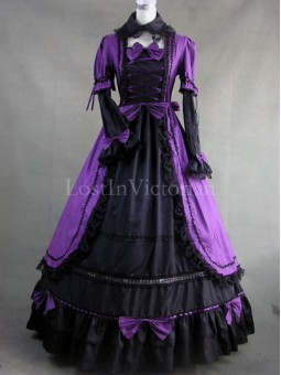 Gothic Purple and Black Colonial Period Dress Women Halloween Historical Costume Gowns