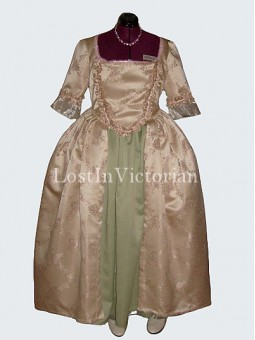 Late 18th Century Colonial Period Dress Ball Gown Vintage Wedding Tea Party Dress