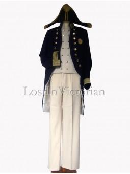 19th Century Navy Blue British Military Coat & Waistcoat & Trousers Men's Suit