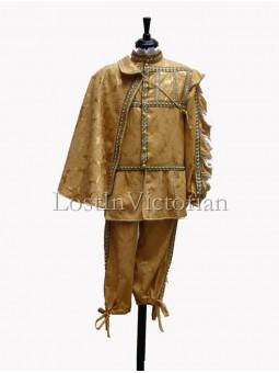 16th Century Men's Gold Renaissance Suit (Jacket & Breeches & Cloak)