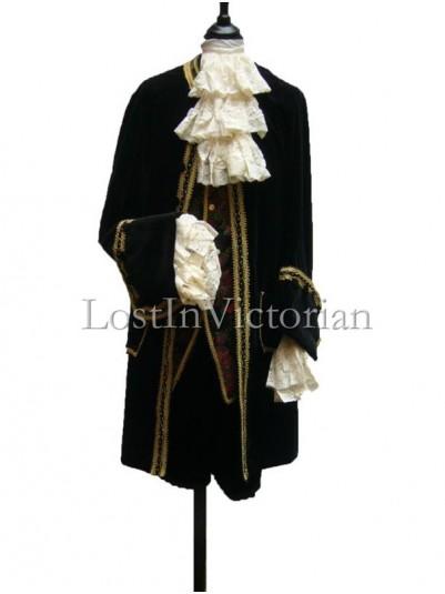 18th Century Black Velvet Frock Coat & Waistcoat & Breeches Men's Suit