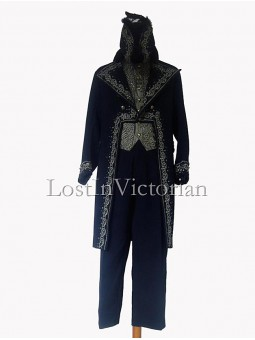 19th Century Blue Long Victorian Frock Coat & Waistcoat & Trousers Men's Suit