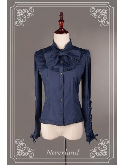 *Neverland* Autumn/Winter Lace-up Sleeves Striped Cotton Lolita Blouse