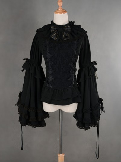 *Neverland* Princess Flare Sleeves Black/White Cotton Lolita Blouse