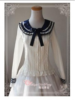 *Magic Tea Party* Sailor Collar Long Sleeves Cotton Lolita Blouse