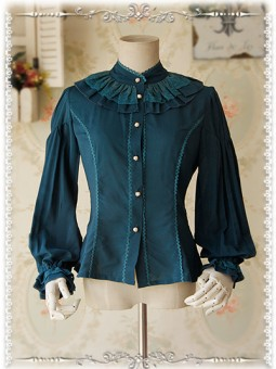*Infanta* Retro Victorian Inspired Bishop Sleeves Chiffon Blouse