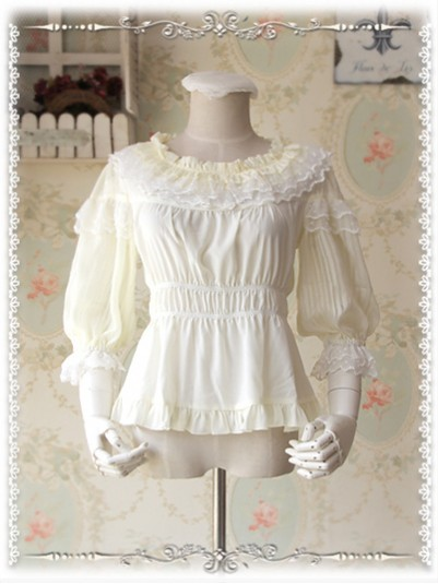 *Infanta* Sweet Lolita 3/4 Sleeves Ruffle Collar Chiffon & Lace Blouse