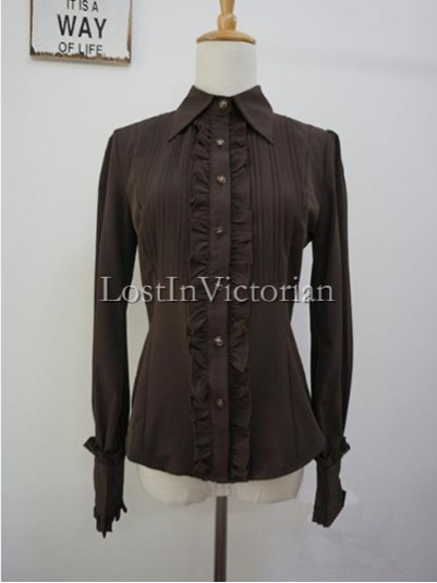 Neutral Style Lapel Collar Lolita Blouse