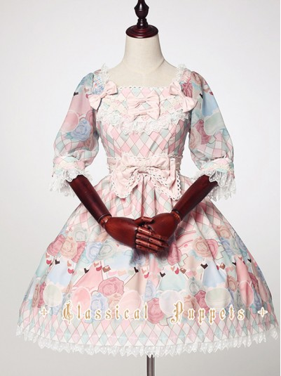 *Classical Puppets* Feminine Candy Color One Piece OP Sweet Lolita Dress