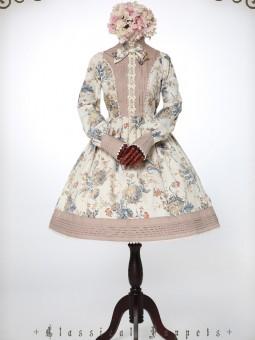 *Classical Puppets* Feminine Victorian Garden Rococo OP Lolita Long Sleeve Dress