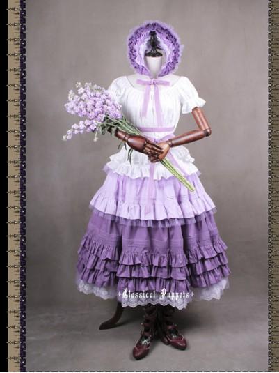 *Classical Puppets* Victorian Maiden Violet Four Piece Set Long Dress