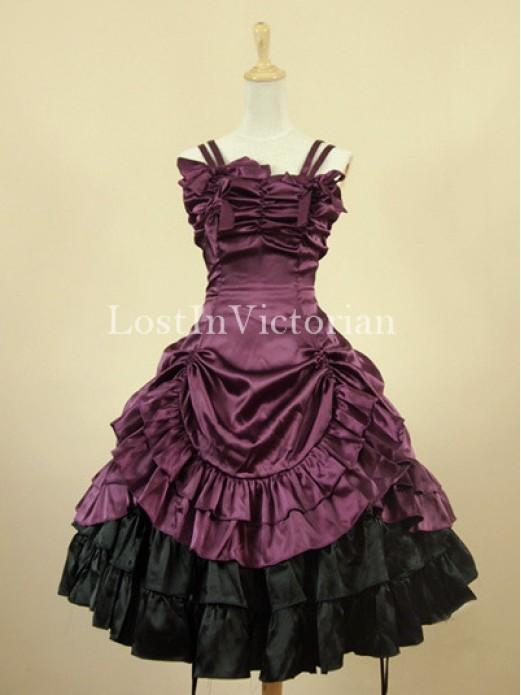 Vintage Purple Victorian Lolita Dress Prom Tea Party Dress