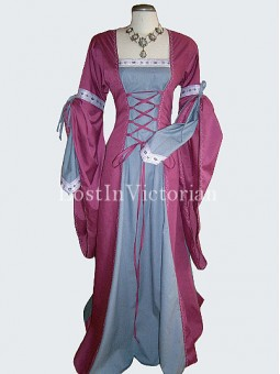 Purple and White Medieval Period Dress Wedding Gown Renaissance Faire Clothing