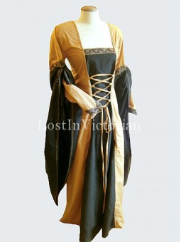 Earth Yellow and Black Medieval Period Dress Wedding Gown Renaissance Faire Clothing