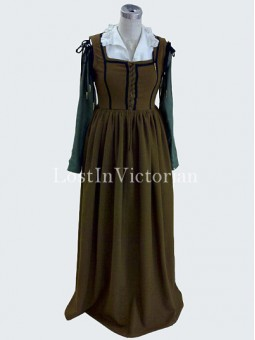 Historical Olive Medieval Wench Costume Dress Renaissance Faire Ladies Outfit