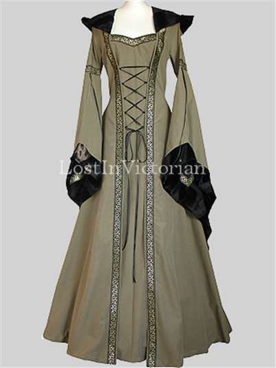 Olive Green Hooded Medieval Gown for Ladies