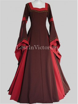 Brown-Brick Red Medieval Gown for Lady