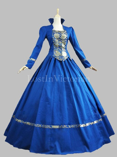 Historical Renaissance Period Queen Elizabeth Inspired Dress Theatre Reenactment Gown BLUE