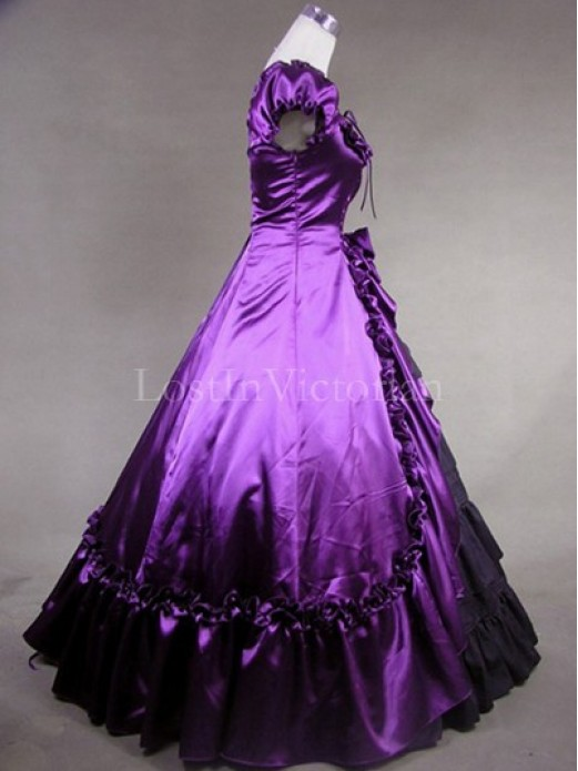 purple and black colonial inspired victorian dress