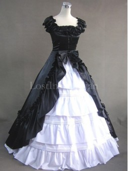Black and White Colonial Inspired Victorian Dress Masquerade Gothic Ball Gown