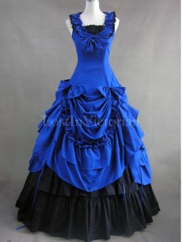 Blue and Black Civil War Southern Belle Dress Ball Gown Halloween Gothic Party Dress