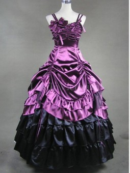 Purple and Black Victorian Inspired Dress Masquerade Gothic Ball Gowns