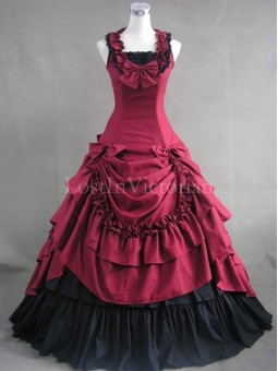 Burgundy and Black Civil War Southern Belle Dress Ball Gown Halloween Gothic Party Dress