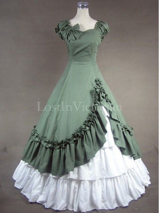Southern belle victorian civil war period dress vintage for Period style wedding dresses