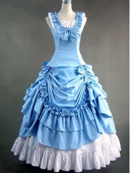 Blue and White Civil War Southern Belle Dress Prom Tea Party Vintage Wedding Bridesmaid Dress