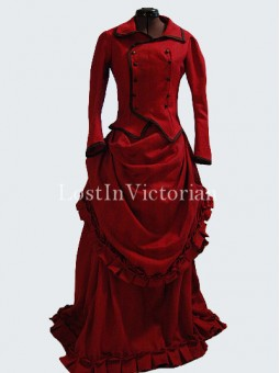 Historical 19th Century Victorian Bustle Dress RED