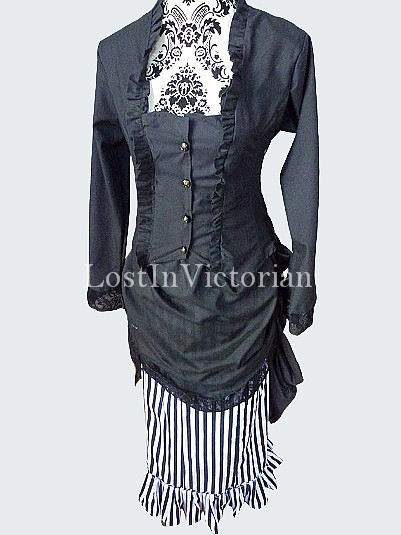 Grey Cotton Stripes 19th Century Victorian Bustle Dress