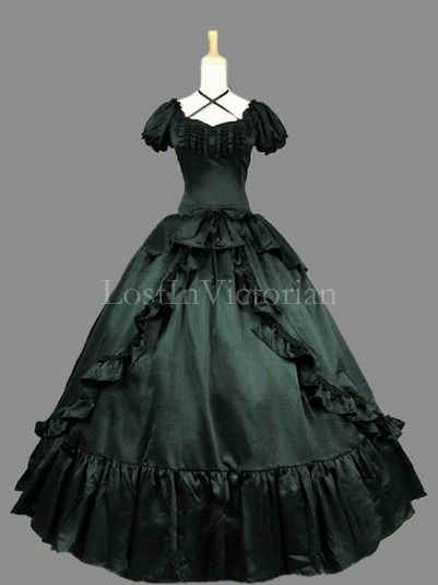 Historical 19th Century Gothic Black Victorian Civil War Shouthern Belle Dress