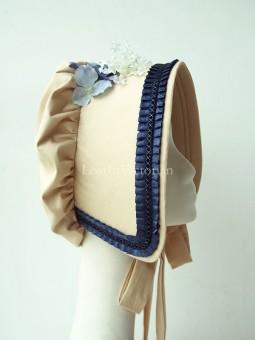 Ladies Victorian Era Bonnet Trimmed with Loyal Blue Ruffles