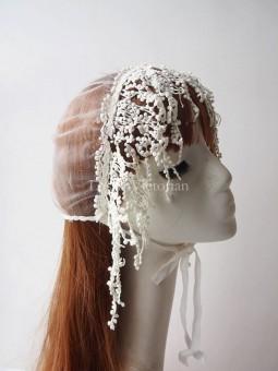 Ladies Wedding Cap White Bonnet