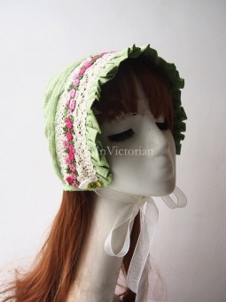 Sweet Green Bonnet Trimmed with Embroidery Lace