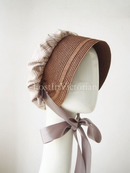 Ladies Striped Linen & Straw Retro Victorian Era Bonnet