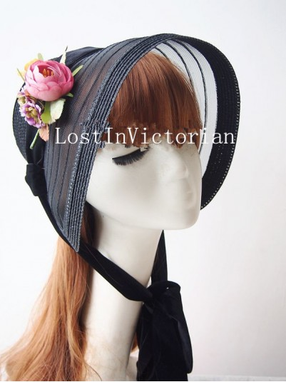 19th Century Victorian Black Straw Bonnet with Flower