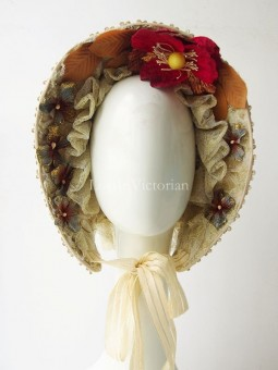 19th Century Victorian Embroidery Lace Bonnet with Flowers