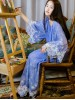Delicate Embroidered Lace Blue Silk & Cotton Robe Vintage Chemise Dress