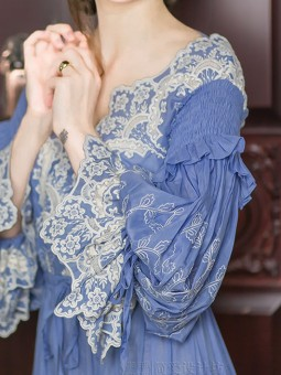 Delicate Embroidered Lace & Silk Vintage Blue Princess Chemise Dress