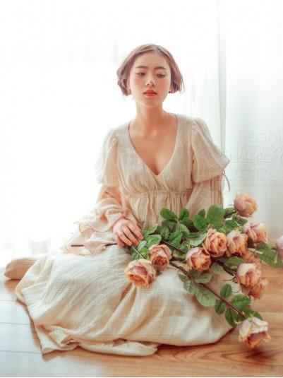 Vintage Royal Court Ivory Cotton Linen Robe Fairy Chemise Dress