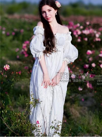 Delicate Embroidered Silk & Cotton Renaissance Chemise Dress