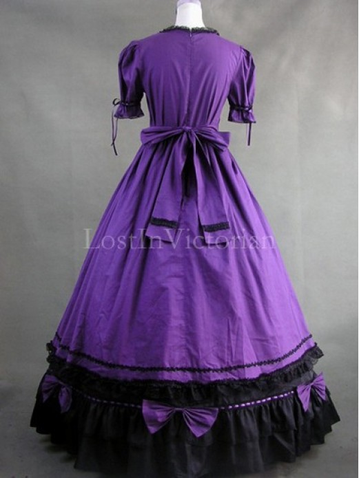 Purple and Black Colonial Period Dress Women Halloween Historical ...