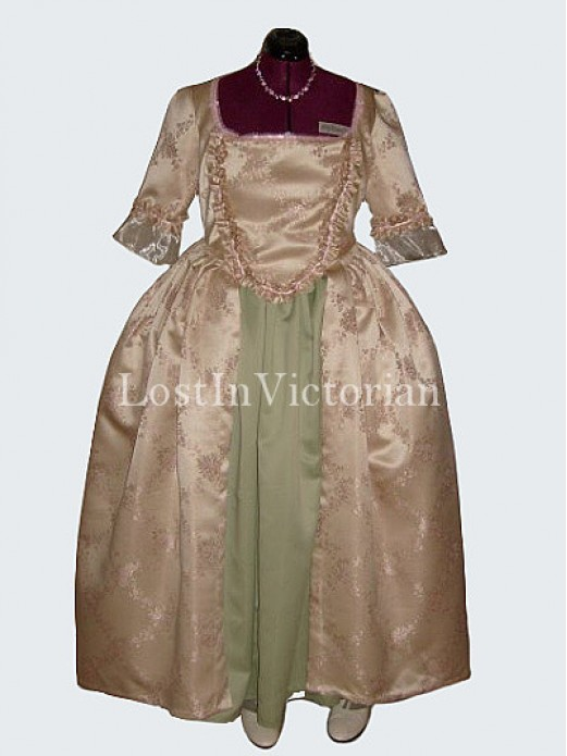 Late 18th Century Colonial Period Dress Ball Gown Vintage