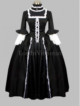 Gothic Black and White Colonial Era Dress Gown Reenactment Clothing for Women