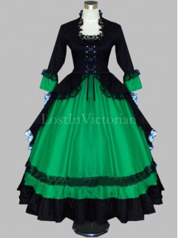 Gothic Black and Green Colonial Period Dress Gown Reenactment Clothing for Women