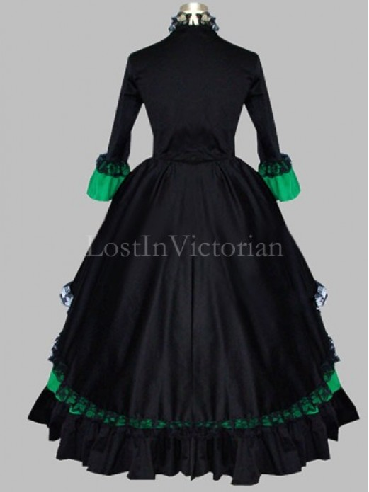 Gothic Black And Green Colonial Period Dress Gown Reenactment