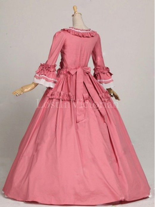 historical 18th century colonial era dress ball gown