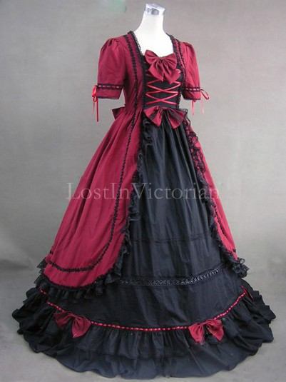 Gothic Burgundy and Black Colonial Era Dress Gown Reenactment Clothing for Women