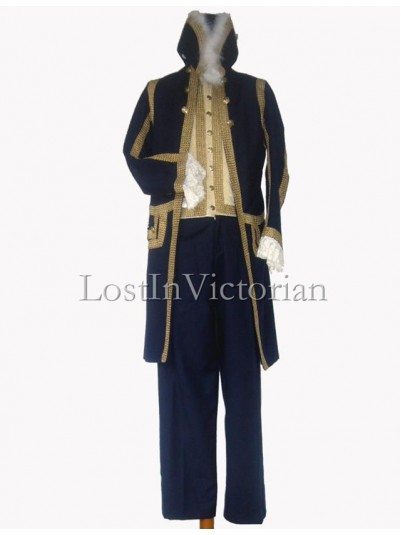 19th Century Navy Blue Long Frock Coat & Waistcoat & Trousers Men's Suit